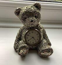 METAL SILVER FINISH TEDDY BEAR DECORATIVE COLLECTABLE CLOCK