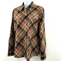 NWT Jones NY Women's Plaid Blouse Shirt Med Button Up L/S Tunic Pockets A10