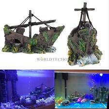 New Fish Tank Decoration Cave Decor Sailing Boat Shipwreck Aquarium Sunk Ship #W