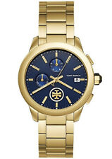 NEW! TORY BURCH COLLINS Gold Stainless Steel Blue Dial Chronograph Watch TBW1251