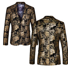Mens One Button Suit Blazers Business Casual Floral Wedding Dress Jacket Coat