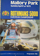 More details for mallory park rothmans 5000 european championship with 3 information sheets