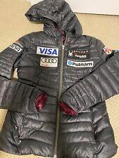 Spyder US Ski Team Down Jacket Hooded Gray Womens Medium
