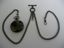 unusual double black  plated albert pocket watch chain fob t bar
