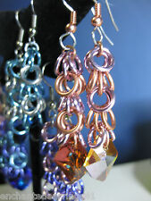 Aluminum & Copper Chainmaille Dangle Earrings with Swarovski Elements Pink