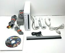 Nintendo Wii Console RVL-001 Bundle w/ Cables 2 Controllers 1 Nunchuck & 5 Games