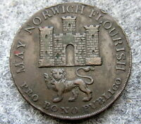 GREAT BRITAIN NORFOLK & NORWICH 1792 MAY NORWICH FLOURISH HALFPENNY TOKEN