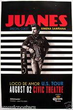 "JUANES / XIMENA SARINANA ""LOCO DE AMOR U.S. TOUR"" 2015 SAN DIEGO CONCERT POSTER"