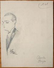 Dessin original de PAZZI vers 1930 Portrait de Charles BOYER Grec Greece