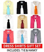 Men's Dress Shirts  Tie and Hanky Gift Set Long Sleeve One Pocket by Berlioni