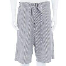 """new DRIES VAN NOTEN SS17 grey white stripe cotton belted wide leg shorts M 34"""""""