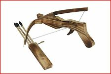 Wooden Cross Bow W/3 Arrow Quiver Kid/Children/Youth Toy Gun Archery Crossbow