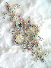 ACT/XR75/A Crystal AB Aurora Borealis Rhinestone Applique Silver Beaded Bridal
