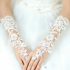 Woman Bride Lace Fingerless Glove Formal Prom Bridal Mittens Bridesmaid White AU
