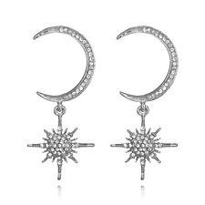 CN_ Crystal Star and Moon Earrings Rhinestone Long Pendant Dangle Fashion Jewe