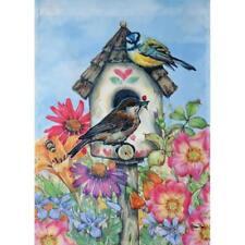 """Watercolor Birdhouse 12.5"""" X 18"""" Garden Flag 11-3055-250 Rain Or Shine Spring"""