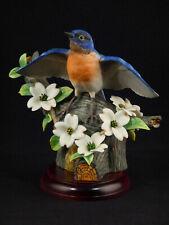 Franklin Mint Rspb Eastern Bluebird Porcelain Bird Figurine w/ Base - 1982