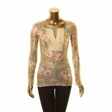 DENIM & SUPPLY RALPH LAUREN NEW Women's Printed Lace See-thru Henley Top S TEDO