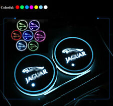 2x RGB LED Car Cup Holder Light Mat Coaster Pad for Jaguar Atmosphere Light