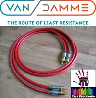 1m Pair - Van Damme RCA Phono Cables - Pro Grade Silver Plated Pure OFC Red