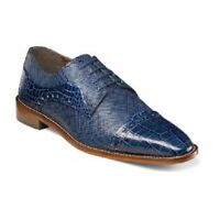 Mens Shoes Stacy Adams Rodrigo Leather Cap Toe Oxford Blue Lace Up  25168-400