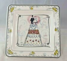 Handmade - Square Wedding Theme Plate on Silver-Plated Stand