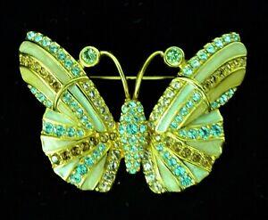 Swarovski Swan Mark Butterfly Gold Tone Blue Amethyst Rhinestone Brooch Signed