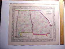 1860 GEORGIA AND ALABAMA MAP LARGE HAND COLORED BY MITCHELL ROADS AND TRAILS VG+