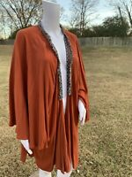UMGEE Kimono Open Cardigan Duster Boho Long Orange Fringe Bohemian Jacket
