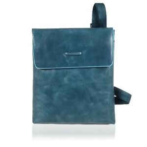 PIQUADRO SHOULDER POCKETBOOK WITH FLAP AND IPAD/IPAD®AIR COMPARTMENT BLUE SQUARE