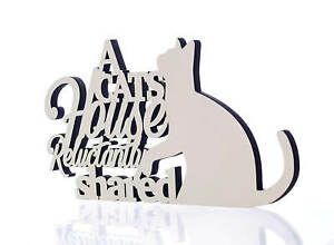 Funny Cream Rustic Cat House Shared Wooden Hanging Plaque Sign Humorous Gift