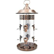 Large Copper Bird Feeder, Lovely Quality, 4 Feeder Tubes With 8 Ports.
