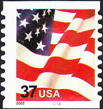 US - 2002 - 37 Cents United States Flag Coil #3632 Plate # Single Plate # 4444