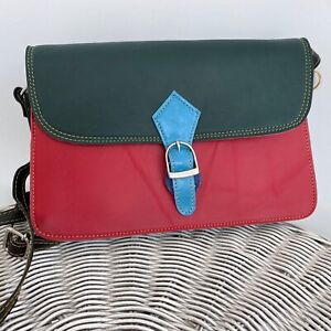 Dark green and red leather satchel bag