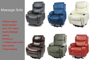New Leather Recliner Electric Lift Heating Massage Disable Chair Sofa 2 Motor