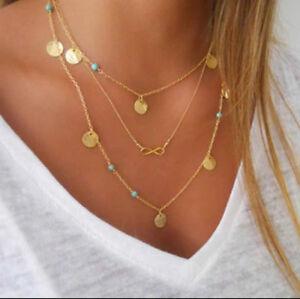 Halskette Kette Multilayer dreireihig Unendlichkeitszeichen Plättchen gold