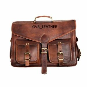 Vintage Goat waxed Leather Messenger Shoulder Laptop Briefcase Satchel Bag