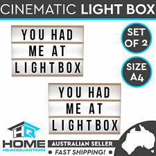 Set of 2 A4 Lightbox Sign Board Cinematic 85 Letter Numbers Home Decor Lights