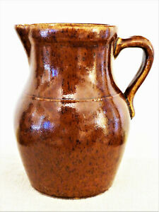 "Antique 1903 Applied Handle STAR Stoneware 9"" BROWN PITCHER Crooksville OHIO #1"