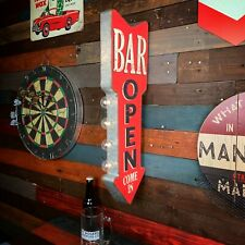 """Bar Open Red 25"""" Led Sign, Home Bar, Game Room, Beer Sign, Man Cave Decor"""