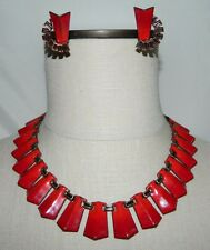 MATISSE Renoir Copper Red Enamel Clip Earrings Choker Necklace