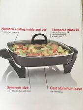 Cooks 12 x 12-inch Electric Foldaway Skillet With Lid Nonstick Slow cook