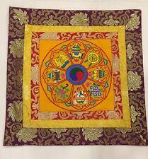 Tibetan brocade Embroidered yellow 8 auspicious symbol table cover / altar cloth