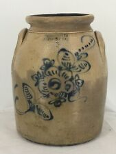 Antique Fort Edward Pottery Co 3 Gallon Stoneware Crock with Floral Design