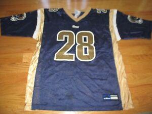 Vintage Adidas MARSHALL FAULK No 28 ST LOUIS RAMS (Youth LG 14-16) Jersey