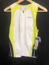 ZOOT - Men's ULTRA Tri Tank Triathlon - Volt White Black - With SEAMLINK -Small