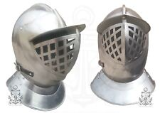 Medieval Dragon Crusader Close helmet with face guard German soldier Helmet SCA