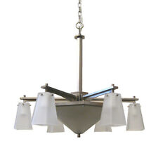 Satin Nickel 6+3 Downlight Chandelier With Etched Glass