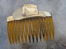"Vintage Hair Comb Cowboy Hat Antiqued Brass Shell 2 3/4"" Comb  Made in USA 027"