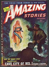 GLOSSY UNREAD Sep 1945 Sci-Fi 25c AMAZING STORIES Pulp Mag! WAR PAPER SHORTAGE